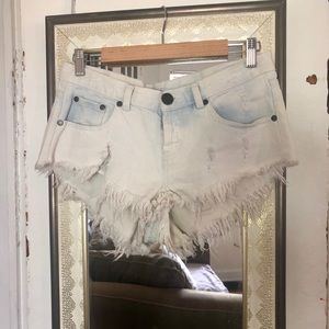 White mini jean shorts
